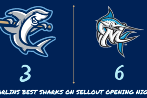 Marlins Best Sharks Late to Take Sellout Opener